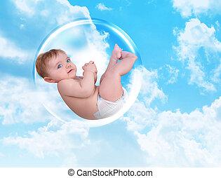 bebê, flutuante, em, proteção, bolha