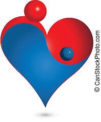 bebê, forma coração, mãe, logotipo