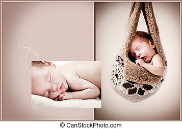 bebê, fotografias, composição