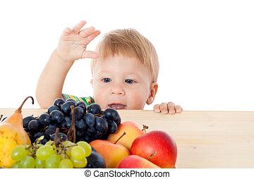 bebê, fruta, pilha