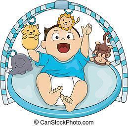 bebê, ginásio, musical