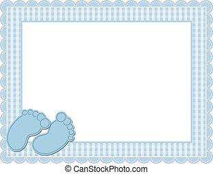 bebê, gingham, quadro