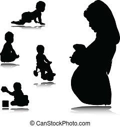 bebê, grávida, mãe
