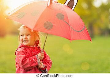 bebê, guarda-chuva, vermelho, feliz