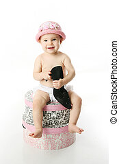 bebê, hatboxes, sentando