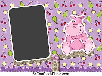 bebê, hipopótamo, ligado, balanço