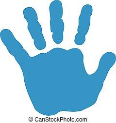 bebê, impressão, mão