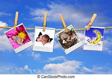 bebê infantil, polaroid, retratos, pendurar, um, céu, fundo