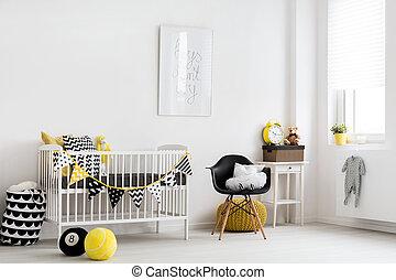 bebê, inspiração, sala, escandinavo