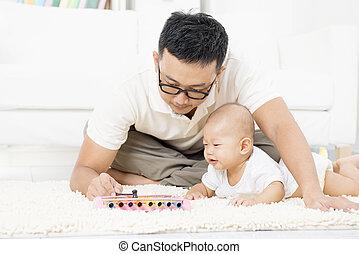 bebê, instrument., pai, toque música