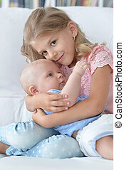 bebê, irmã, irmão, dela