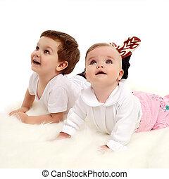 bebê, irmã, irmão, junto