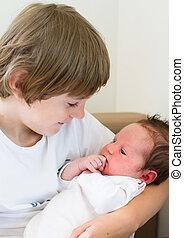 bebê, irmã, seu, irmão, segurando