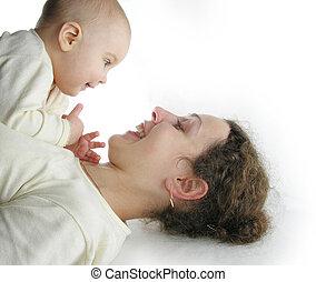 bebê, isolado, mãe