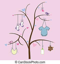 bebê, itens, árvore, penduradas
