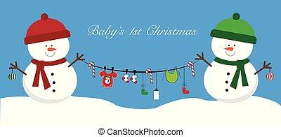bebê, itens, bonecos neve, segurando