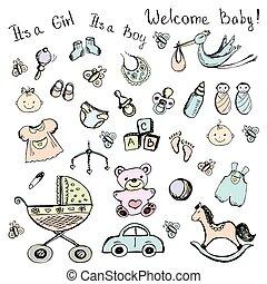 bebê, itens, jogo, recem nascido