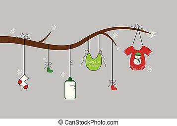bebê, itens, natal, feliz