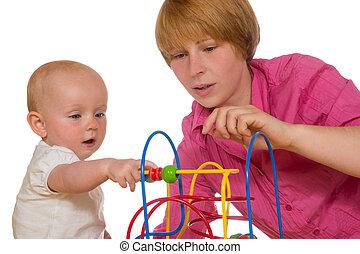 bebê, jogando, mãe