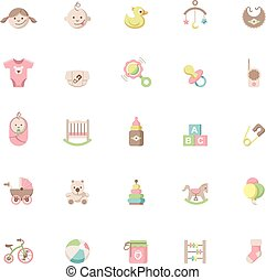 bebê, jogo, ícone