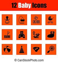 bebê, jogo, ícones