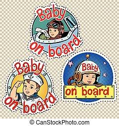 bebê, jogo, adesivos, tábua