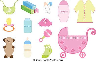 bebê, jogo, elementos
