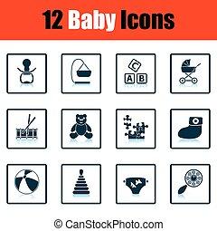 bebê, jogo, icons.