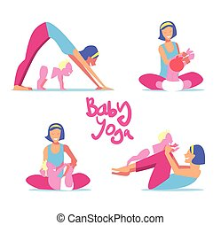 bebê, jogo, ioga