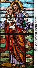 bebê, joseph, são, segurando, jesus