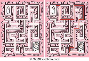 bebê, labirinto, fácil
