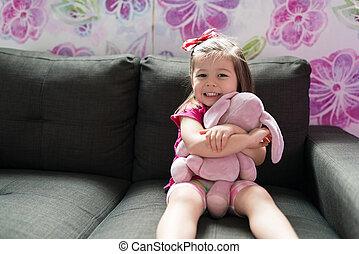 bebê, lar, menina, brinquedo