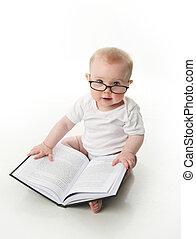bebê, leitura, com, óculos