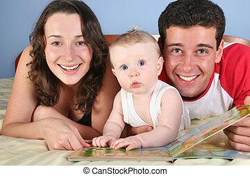 bebê, ler, livro, família