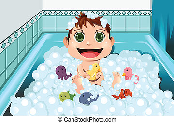 bebê, levando, borbulhe banho