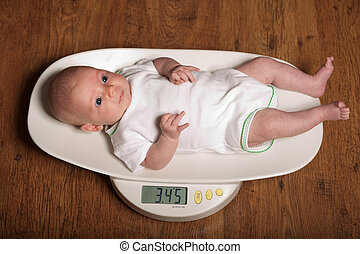 bebê, ligado, escalas