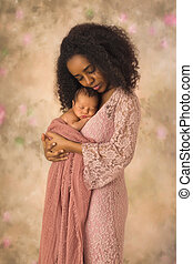 bebê, ligar, ethiopian, dela, mãe