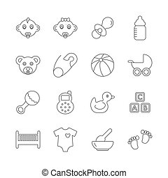 bebê, linha, ícones