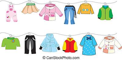 bebê, linha, roupas