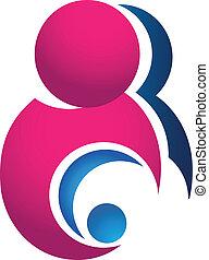 bebê, logotipo, mãe
