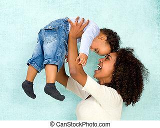 bebê, mãe, africano, feliz
