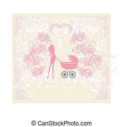 bebê, mãe, carrinho criança