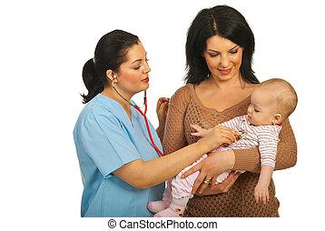 bebê, mãe, visita, doutor