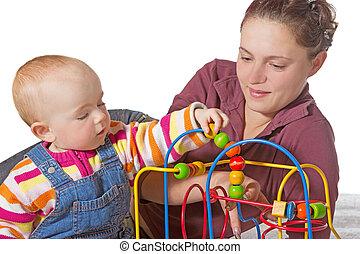 bebê, músculo, jovem, aprendizagem, coordenação