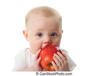 bebê, maçã, segurando
