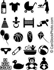 bebê, material, jogo, ícone