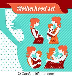 bebê, maternidade, set., silhuetas, mãe