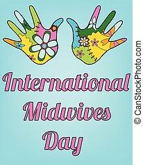 bebê, midwives, internacional, dia, mãos