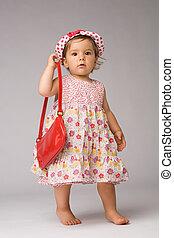 bebê, moda, posar