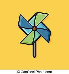 bebê, moinho de vento, brinquedo, ícone